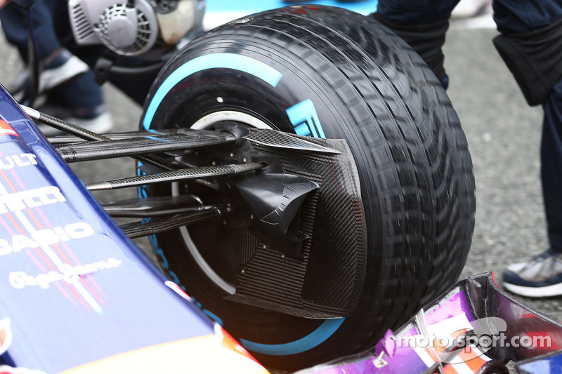 Daniel Ricciardo, Red Bull Racing RB10 front suspension and brake duct detail