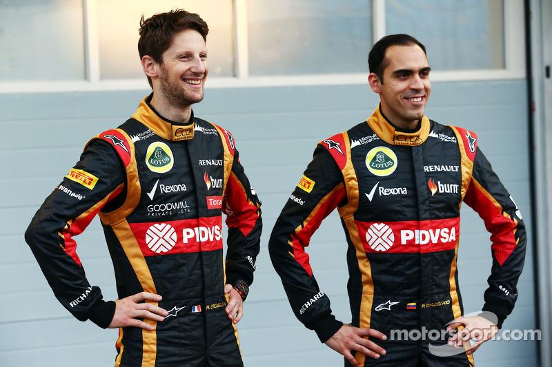 (L to R): Romain Grosjean, Lotus F1 Team with team mate Pastor Maldonado, Lotus F1 Team