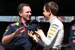 Christian Horner, director Red Bull Racing Team y Sebastian Vettel, Red Bull Racing