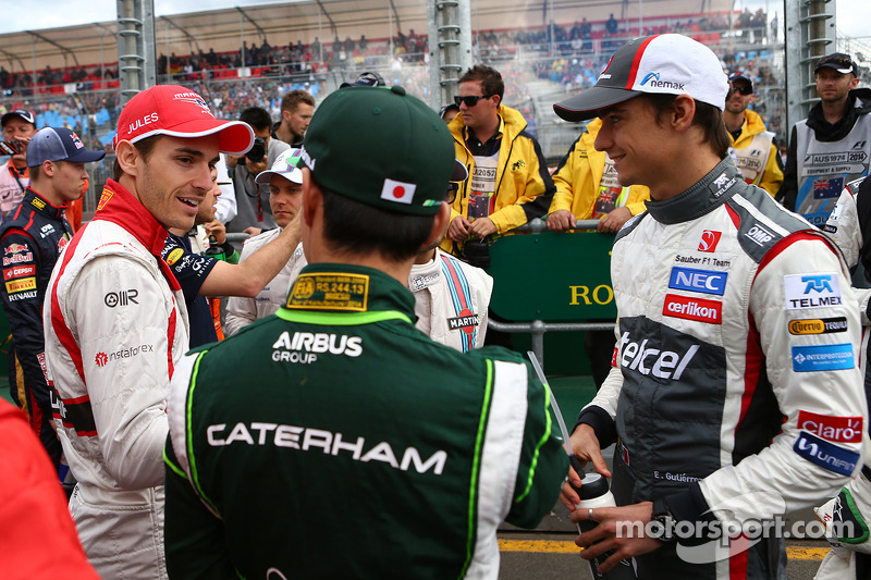 (L to R): Jules Bianchi, Marussia F1 Team with Kamui Kobayashi, Caterham and Esteban Gutierrez, Sauber on the drivers parade