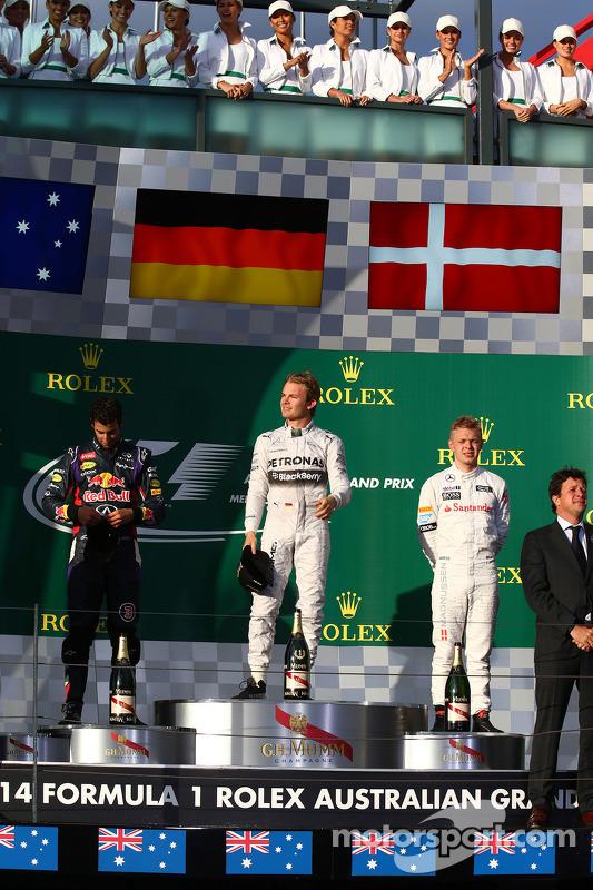 1. Nico Rosberg, Mercedes AMG F1 W05; 2. Daniel Ricciardo, Red Bull Racing RB10; 3.Kevin Magnussen,