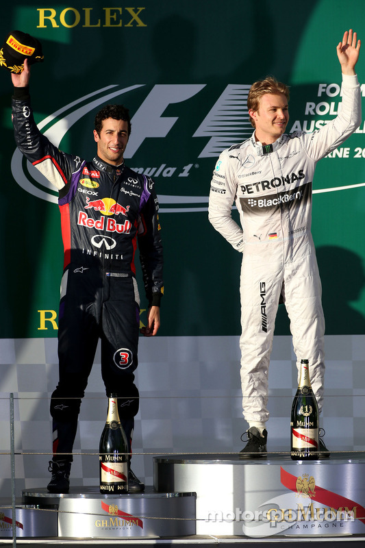 Daniel Ricciardo, Red Bull Racing ve Nico Rosberg, Mercedes AMG F1 Takımı