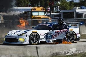 Major fire for the #33 Riley Motorsports SRT Viper GT3-R: Ben Keating