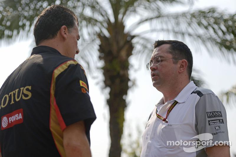 (L to R): Federico Gastaldi, Lotus F1 Team Deputy Team Principal with Eric Boullier, McLaren Racing