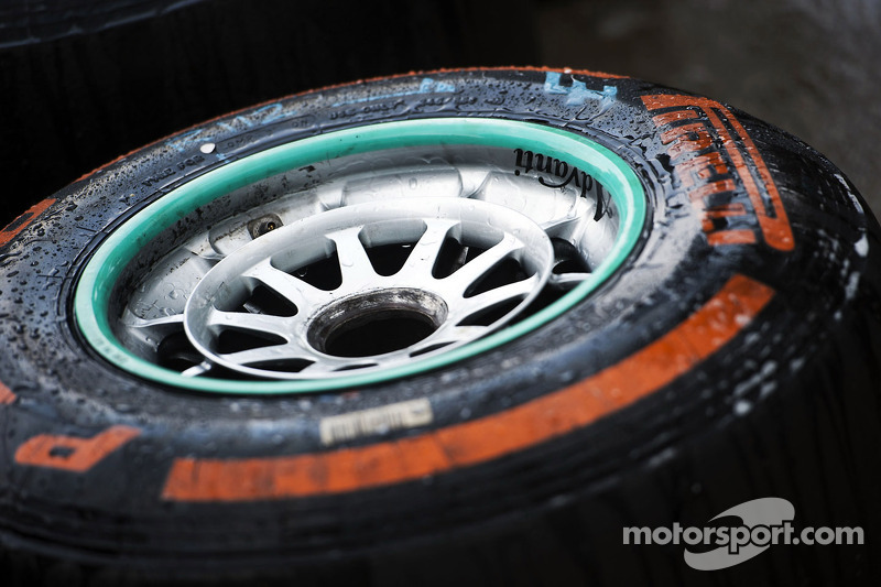 A washed Pirelli tyre