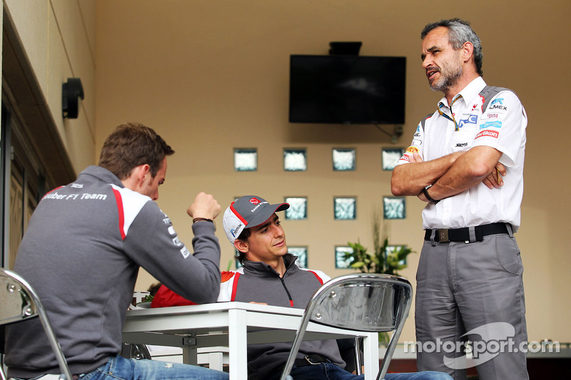 (L to R): Giedo van der Garde, Sauber Reserve Driver with Esteban Gutierrez, Sauber and Beat Zehnder, Sauber F1 Team Manager
