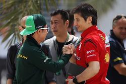 (L to R): Kamui Kobayashi, Caterham with Massimo Rivola, Ferrari Sporting Director