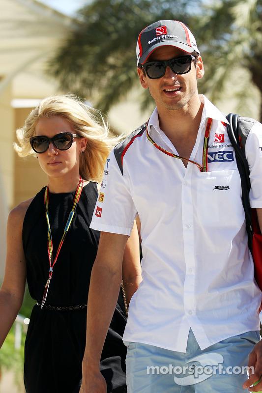 Adrian Sutil, Sauber with his girlfriend Jennifer Becks (GER)