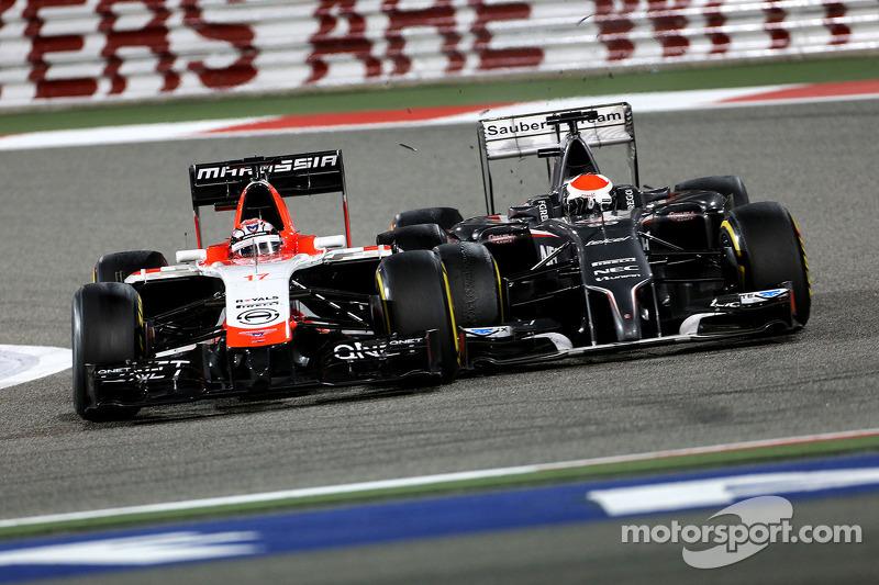 玛鲁西亚F1车队的朱尔斯·比安奇和索伯F1车队的阿德里安·苏蒂尔