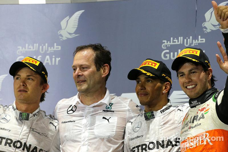 Podium: 1. Lewis Hamilton, Mercedes AMG F1; 2. Nico Rosberg, Mercedes AMG F1; 3. Sergio Perez, Sahar
