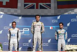 Race winner Jolyon Palmer, second place Simon Trummer, third place Julian Leal