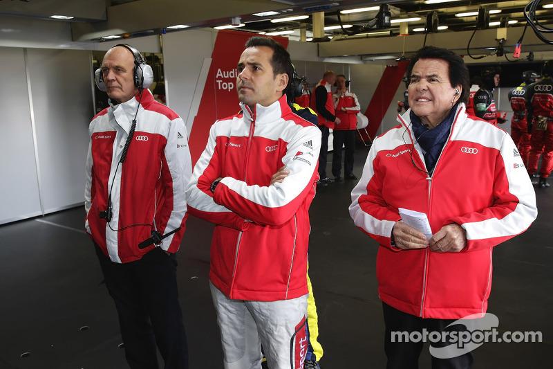 Dr. Wolfgang Ullrich, head of Audi Motorsport, Benoit Tréluyer and Reinhold Joest
