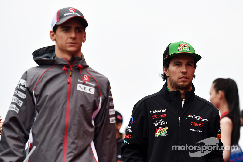 Esteban Gutierrez, Sauber and Sergio Perez, Sahara Force India F1 on the drivers parade.
