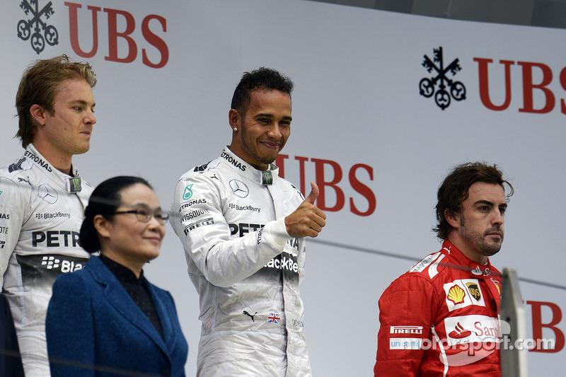 2014 : 1. Lewis Hamilton, 2. Nico Rosberg, 3. Fernando Alonso