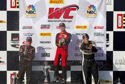 GTS Class podium: race winner Mark Wilkins, second place Jack Roush Jr., third place Jack Baldwin
