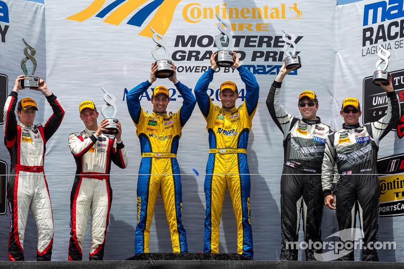GTD Sınıfı podyumu: Kazananlar Dane Cameron, Markus Palttala, ikinci sıra Christopher Haase, Bryce M