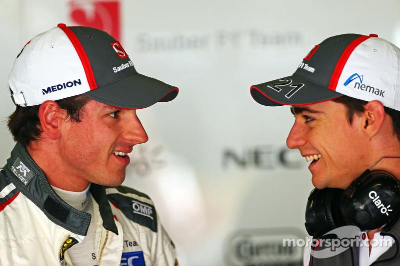 (L to R): Adrian Sutil, Sauber with team mate Esteban Gutierrez, Sauber