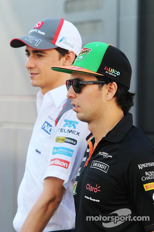 Sergio Perez, Sahara Force India F1 e Esteban Gutierrez, Sauber