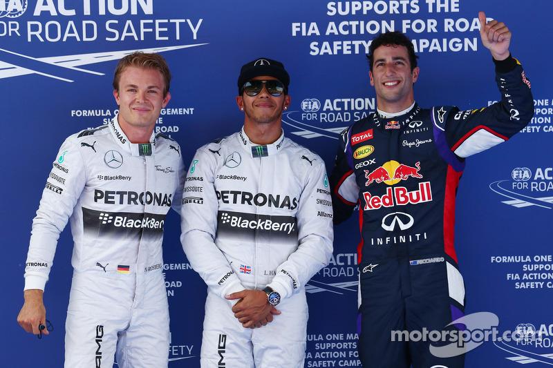 Ganador de la pole Lewis Hamilton, segundo puesto de Nico Rosberg, el tercer lugar Daniel Ricciardo