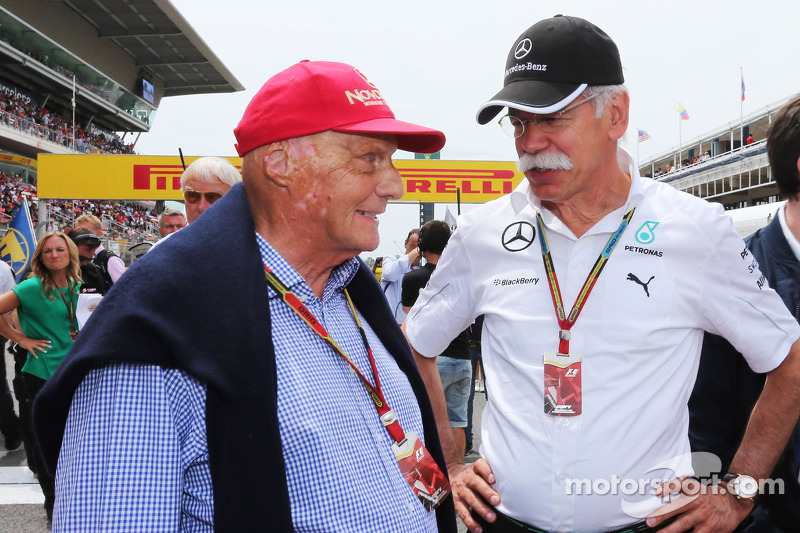 (L to R): Niki Lauda, Mercedes Non-Executive Chairman with Dr. Dieter Zetsche, Daimler AG CEO on the