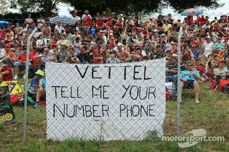A banner for Sebastian Vettel, Red Bull Racing