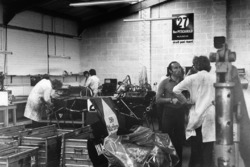Frank Williams in the workshop with an ISO Marlboro IR01 Ford car
