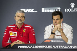 Maurizio Arrivabene, Ferrari Team Principal and Toto Wolff, Mercedes AMG F1 Director of Motorsport in the Press Conference