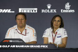 Zak Brown, McLaren Executive Director and Claire Williams, Williams Deputy Team Principal in the Press Conference