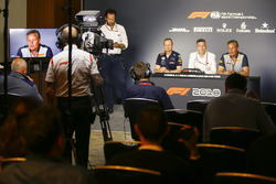 Jonathan Wheatley, Team Manager, Red Bull Racing, James Allison, Technical Director, Mercedes AMG, and Mario Isola, Racing Manager, Pirelli Motorsport, in a Press Conference