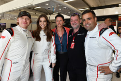 F1 Experiences 2-Seater passengers Rupert Grint, Actor and Barbara Palvin Model with Paul Stoddart, and Zsolt Baumgartner, F1 Experiences 2-Seater driver
