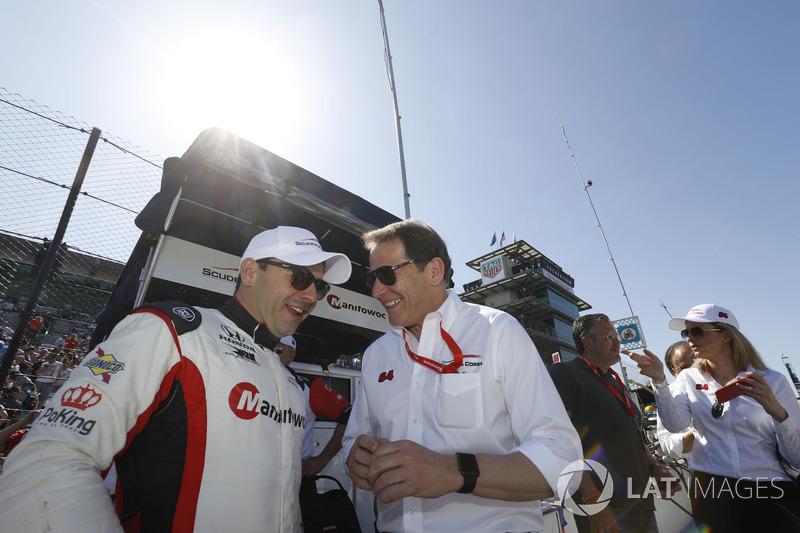 Oriol Servia, Scuderia Corsa with RLL Honda, with team owner Giacomo Mattioli