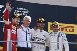 Podium: race winner Lewis Hamilton, Mercedes AMG F1, second place Sebastian Vettel, Ferrari, third place Felipe Massa, Williams
