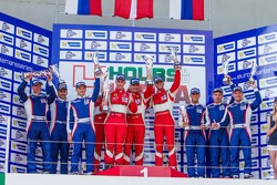 GTC podium: winners Andrea Piccini, Johnny Laursen, Mikkel Mac Jensen, second place Olivier Beretta, David Markozov, Anton Ladygin, third place Kiriil Ladygin, Aleksey Basov, Luca Persiani