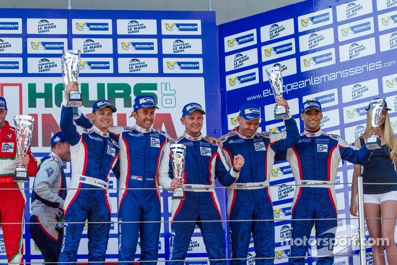 GTC podio: secondo posto Olivier Beretta, David Markozov, Anton Ladygin, terzo posto Kiriil Ladygin,