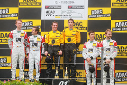 Podium: winner race 1, GW IT Racing Team Schötz Motorsport Porsche 911 GT3 R: Kevin Estre, Jaap van Lagen