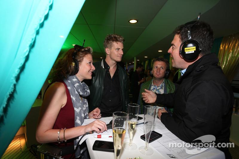 (L to R): Jennie Gow, BBC Radio 5 Live Pitlane Reporter with Nico Hulkenberg, Sahara Force India F1; Allan McNish, BBC F1 Presenter and James Allen, Journalist and BBC Radio 5 Live Commentator at the Signature Monaco Party