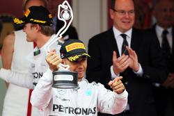 Lewis Hamilton, Mercedes AMG F1 celebrates his second position on the podium