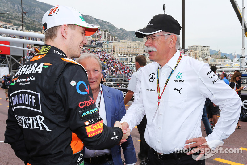 (L to R): Nico Hulkenberg, Sahara Force India F1 with his manager Manfred Zimmerman, CMG and Dr. Die