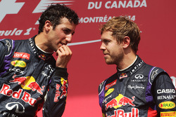 The podium, Red Bull Racing with third placed team mate Sebastian Vettel, Red Bull Racing