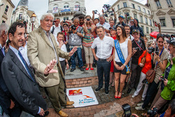 Hand imprint ceremony: 2013 24 Hours of Le Mans winners Loic Duval, Tom Kristensen and Allan McNish with Miss 24 Hours of Le Mans 2014 and ACO President Pierre Fillon