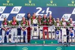 LMP1-H podium: class and overall winners Marcel Fässler, Andre Lotterer, Benoit Tréluyer, second place Lucas Di Grassi, Marc Gene, Tom Kristensen, third place Anthony Davidson, Nicolas Lapierre, Sébastien Buemi