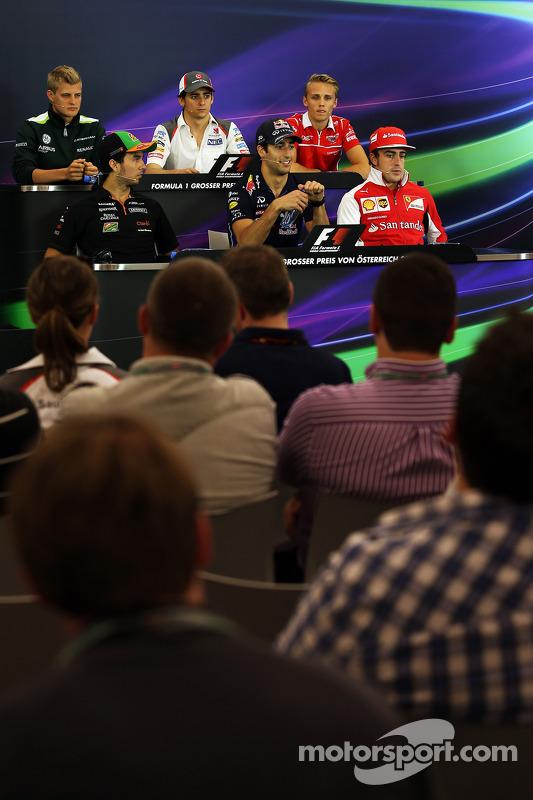 Conferência de imprensa da FIA, Caterham; Esteban Gutierrez, Sauber; Max Chilton, Marussia F1 Team; Sergio Perez, Sahara Force India F1; Daniel Ricciardo, Red Bull Racing; Fernando Alonso, Ferrari