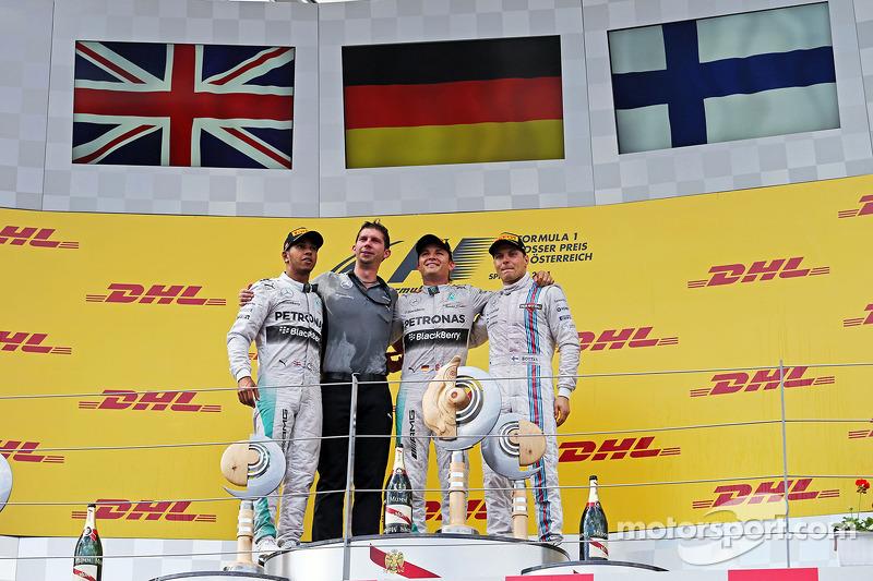Il podio, Nico Rosberg Mercedes AMG F1, secondo; Lewis Hamilton, Mercedes AMG F1, vincitore della ga