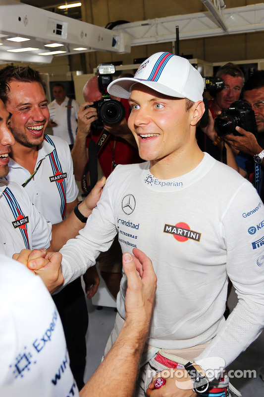 Terceiro lugar Valtteri Bottas, Williams celebra seu primeiro pódio com a equipe