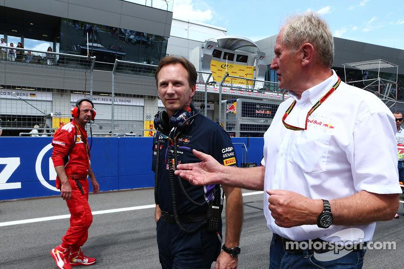 Christian Horner, Red Bull Racing Takım Patronu ve Dr Helmut Marko, Red Bull Motorsporları Danışmanı gridde