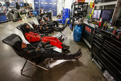 Haribo Racing team members get some rest between pit stops
