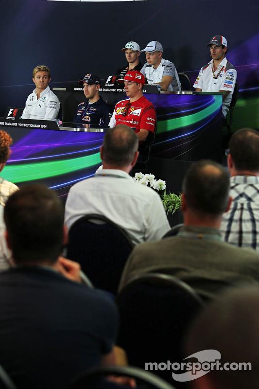 FIA-Pressekonferenz: Nico Hülkenberg, Force India; Kevin Magnussen, McLaren; Adrian Sutil, Sauber; Nico Rosberg, Mercedes; Sebastian Vettel, Red Bull Racing; Kimi Räikkönen, Ferrari
