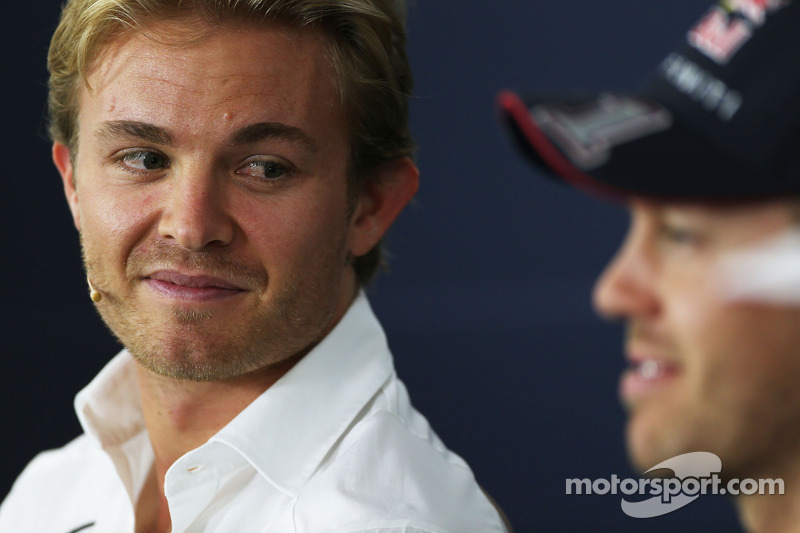 (L to R): Nico Rosberg, Mercedes AMG F1 and Sebastian Vettel, Red Bull Racing in the FIA Press Confe