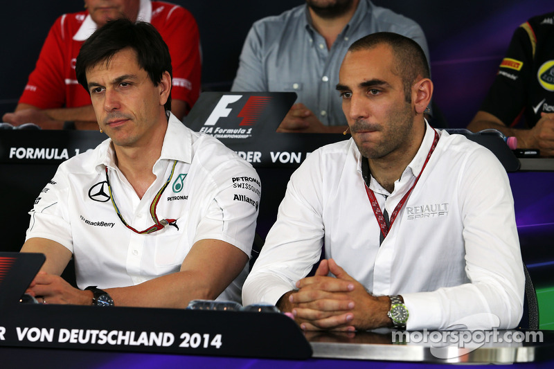 (L to R): Toto Wolff, Mercedes AMG F1 Shareholder and Executive Director and Cyril Abiteboul, Renault Sport F1 Managing Director in the FIA Press Conference