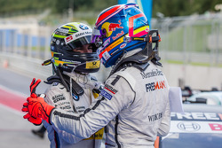Pole winner Robert Wickens, HWA DTM Mercedes AMG C-Coupé celebrates with Timo Glock, BMW Team MTEK BMW M4 DTM